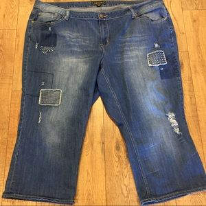 CATO Distressed & Patched Capri Jeans Plus Size 28